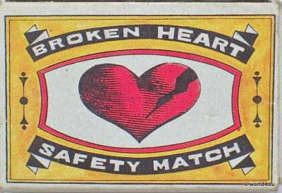 Indian graphics, Phillumeny India , Broken Heart, collectible matches, matchbox, vintage design