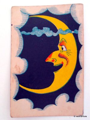 Antique playing cards. The Moon. German vintage illustration