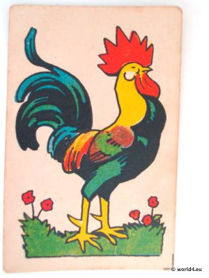 Antique playing cards. The Rooster. German vintage illustration