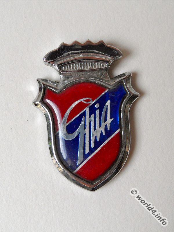 Ghia, Chrome, Metal, Emblem.Italian Automobil, Manufactory.