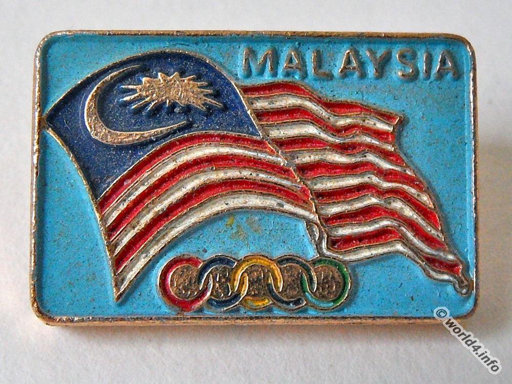 Pin, Malaysia, 1972, Summer, Olympic, Games, Munich,