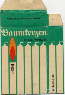Vintage DDR, GDR, Christmas Tree, candles, GDR packaging design, Ostdesign East Germany,