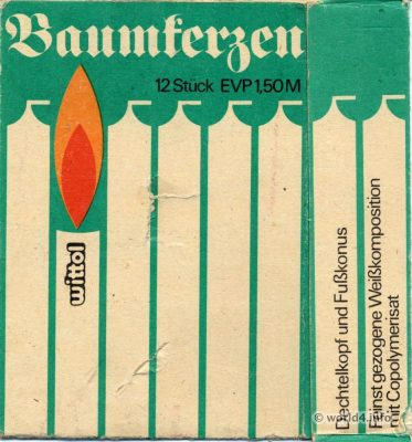 Vintage DDR Christmas Tree candles, GDR packaging design. Ostdesign East Germany.