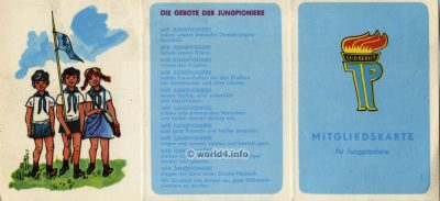 GDR Membership card for Young Pioneers. DDR Mitgliedskarte für Jungpioniere.