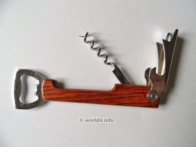 German limonadier 1970s design. Corkscrew, Tire-Bouchon. Wine bottle opener. Collectible tool.