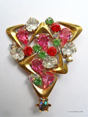 Rhinestones Fashion jewelry design. Art deco style. Gablonz.