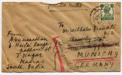 India Philately, Cover, Chennai Postage, Stamps, postal history, postmark,