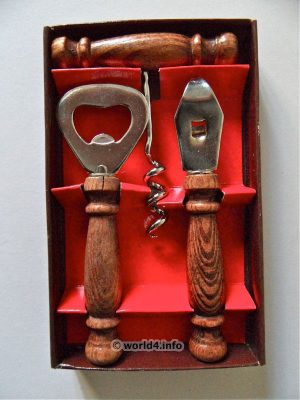 German Rustic Bar Set design, 1970s. Corkscrew, Tire-Bouchon. Wine bottle opener.  Collectible tool.