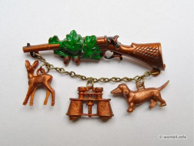 Brooch hunter. Fashion jewelry. Souvenir