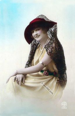 French fashion hat 1920s. Beautiful Girl from France