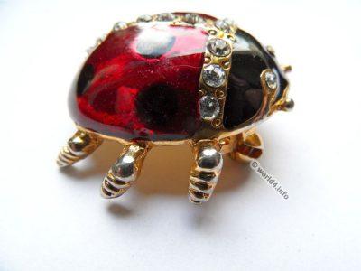 Rhinestones jewelry. Ladybug brooch. Vintage fashion jewelry. Art deco style. Gablonz.