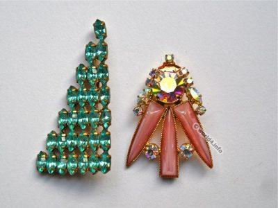rhinestones Brooch. Vintage fashion jewelry. Art deco style. Vintage mid-century design