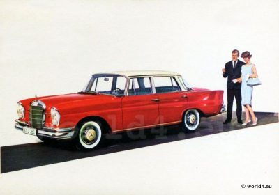 Mercedes-Benz 220 S, Collectible, postcard, advertising, German car,