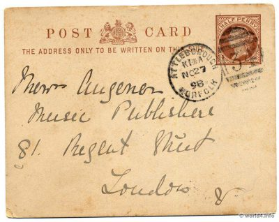 England Philately. Letter card. Collectible Stamps and postmark 1898. Autograph, Handwriting
