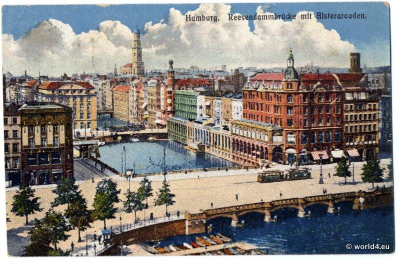 AK, Hamburg, Reesendamm Brücke. Old stamps Germania-red, handwriting