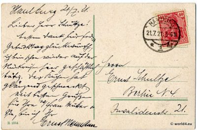Back of postcard, Red Germania stamp, German Reich, handwriting, postmarks. Sent to Berlin 1921.