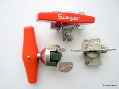 Vintage design Sieger can opener Collection. Germany Solingen. Torpedos, Wet up extra