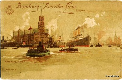 Steamship. Hamburg harbor. postcard