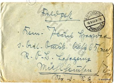 Rare Stamps and Postmark. Collectible Philately. German field post letter. WW2. Handwriting, Autograph.