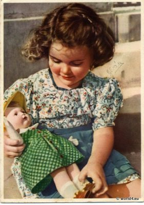 German girls fashion, antique doll, 1930s, collectible Postcard