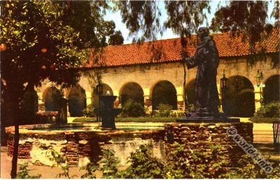 San Fernando Mission, California. Vintage postcard. Natural Color Scenes of the West,