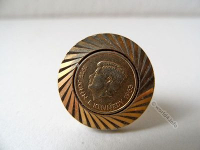 Gold plated Cufflink, John F. Kennedy.Vintage jewelry