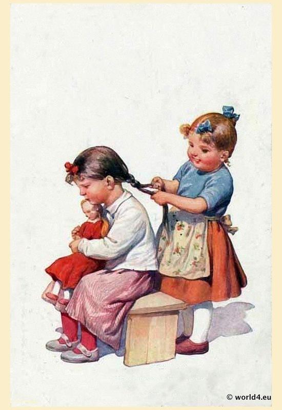 Girls, doll, pigtail, postcard 1910s, illustration