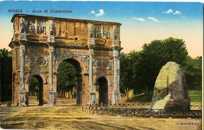 Constantine Arch, Arco di Costantino, Rome, Postcard