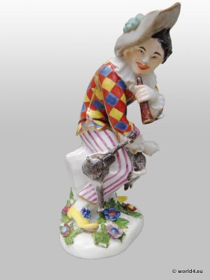 Antique China Meissen porcelain Saxony Germany, sculpture figurines Commedia dell'arte