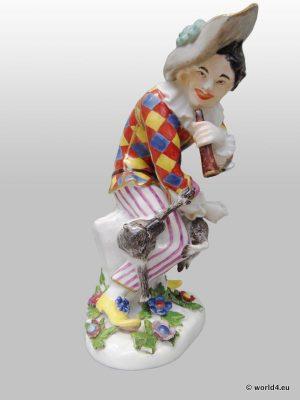 Antique China Meissen porcelain Saxony Germany, sculpture figurines Commedia dell'arte