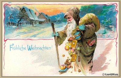 vintage, Merry Christmas, Santa Claus, old, german, cards, postcard, St. Nikolaus,
