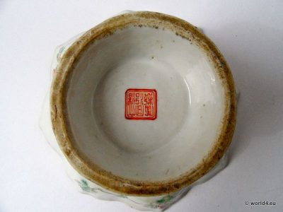 Chinese porcelain tea cup. Antique Chinese porcelain mark