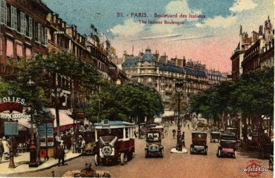 Paris, Boulevard des Italiens, Postcard, Topography, French, Architecture