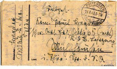 German field post letter. Postmark Rottenbach in Thuringia. WW2. Postmark Rottenbach in Thuringia, Handwriting, Autograph