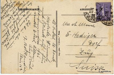 Back, Postcard, Template, Stamps, Handwriting, Philately, France, Postmark