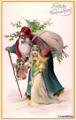 Vintage German Christmas card. Santa Claus. Angel.  Snowy winter landscape