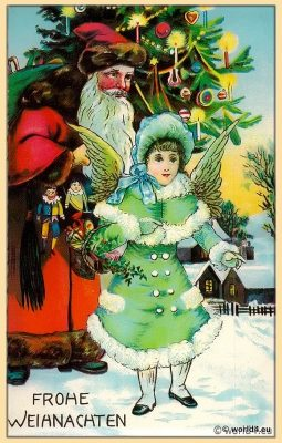 Old fashioned christmas postcard 1910. Santa Claus with an angel.