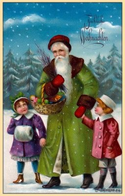 Merry christmas card. Santa Claus with two children.