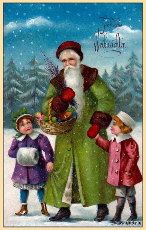 Santa Claus, Snowy, Germany Christmas, children, Illustration