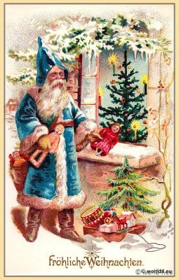 Santa Claus with christmas tree.  Vintage German Christmas card.
