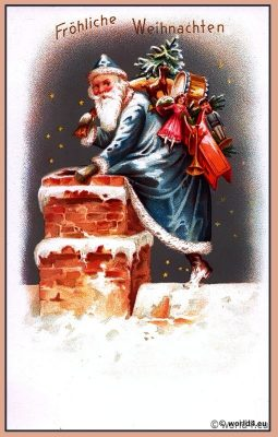 Santa Claus. Snowy christmas. Vintage German Christmas Card