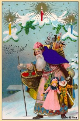 Santa Claus, Snowy, Germany Christmas, old dolls