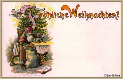 Santa Claus, Old, German, christmas, tree, card, illustration, decoration