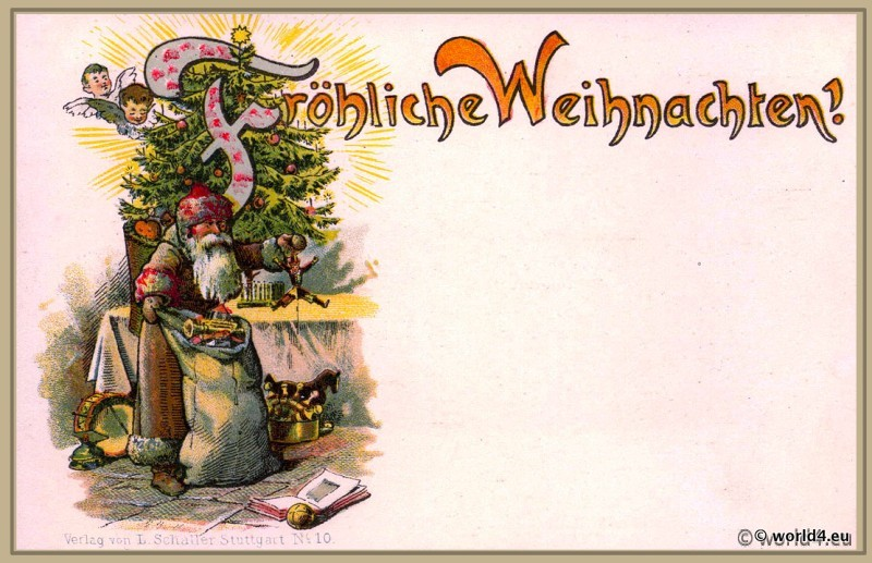 Old German christmas card illustration.