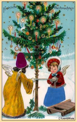 Vintage German christmas card illustration. Two angels.
