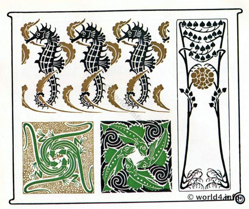 art nouveau sea horse ornaments lost and found. Black Bedroom Furniture Sets. Home Design Ideas