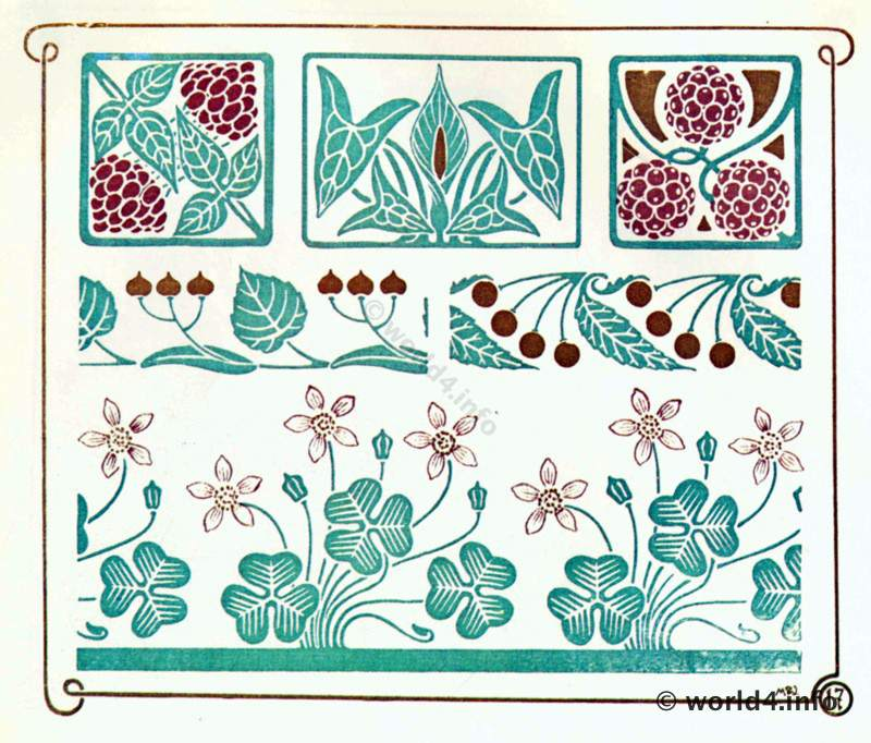 Art Nouveau Decoration with Berries by Alfons Mucha. | Lost and Found