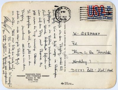 Back of Postcard. Template, Stamps, Handwriting, Philately, USA. Postmark.