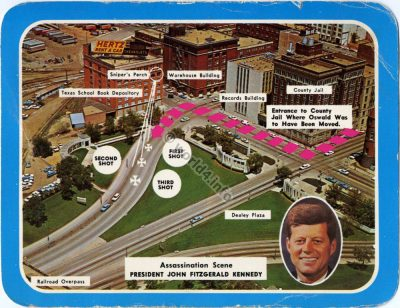 Collectible Postcard. Memorial. Assassination Scene President John F. Kennedy  November 22, 1963 Dallas Texas.