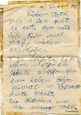 Collectible Autograph Children Letter, 1943, Germany, World War II. Handwriting Calligraphy